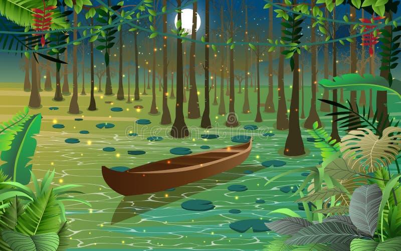 萤火虫和小船在沼泽 库存图片