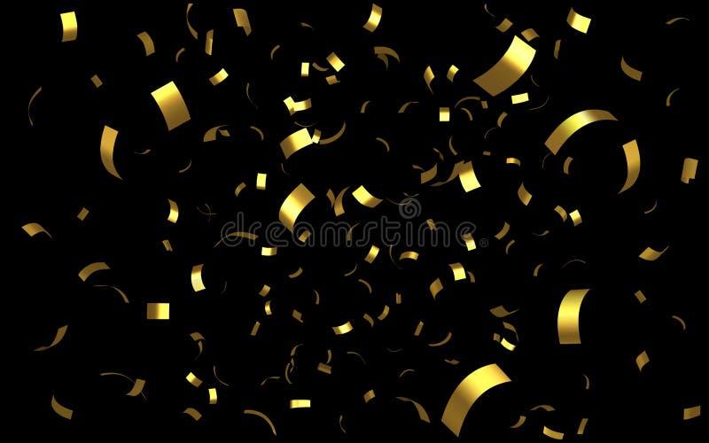 落的发光的金黄五彩纸屑 皇族释放例证