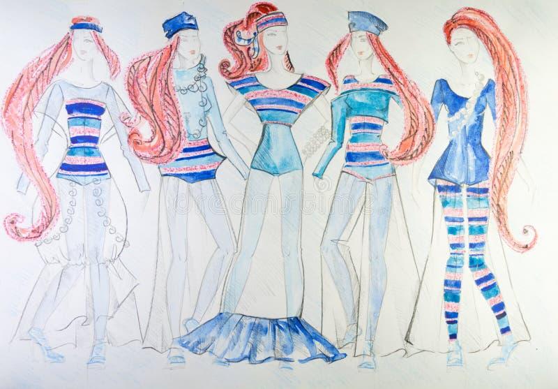 衣裳图画上色了在纸的铅笔 向量例证