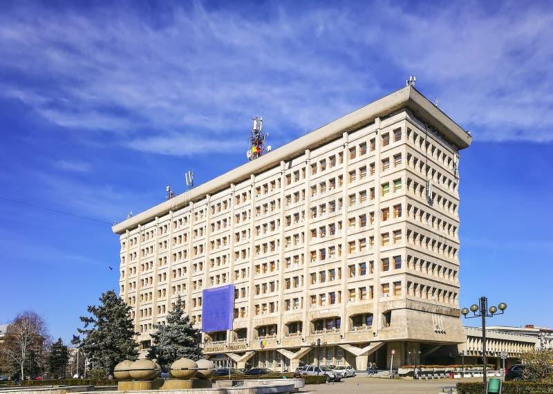 行政大厦在普洛耶什蒂,罗马尼亚 库存照片