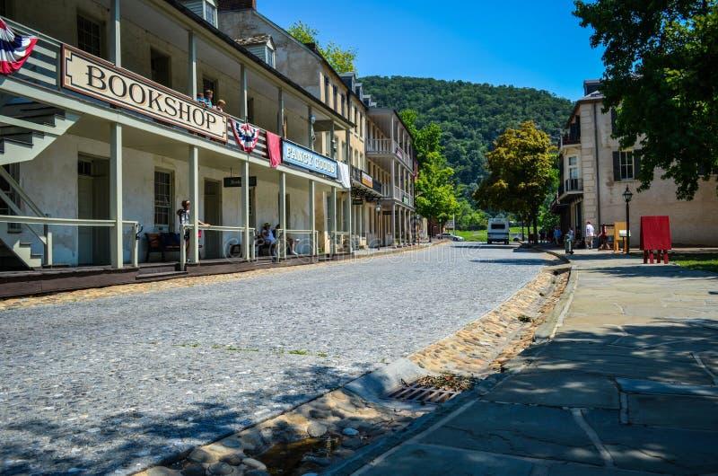 街市哈珀斯费里西维吉尼亚,全国古迹鹅卵石街道  免版税库存图片