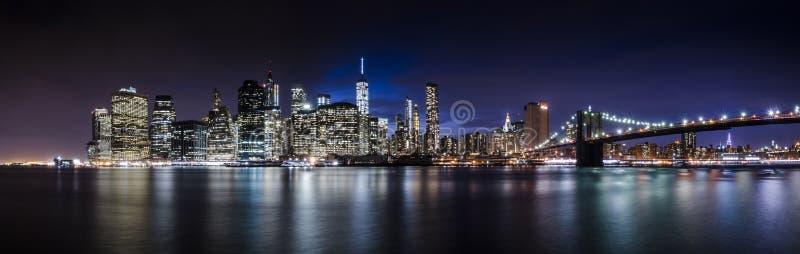 街市曼哈顿地平线全景  免版税图库摄影