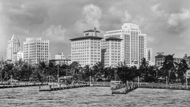 街市迈阿密企业部分20世纪50年代 免版税库存图片