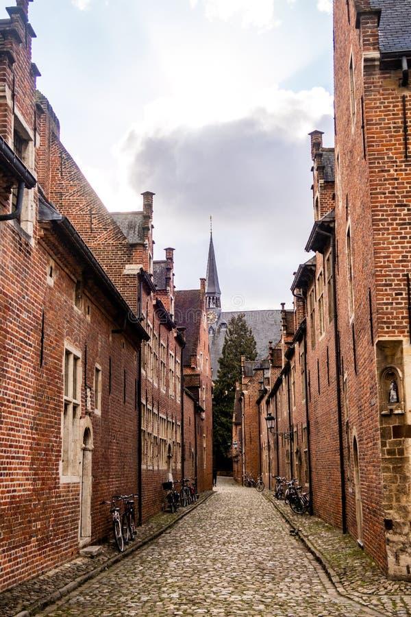 街道在13世纪大贝居安会院鲁汶,比利时 免版税库存图片