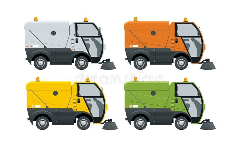 街道清扫车尘土更加干净的街道清扫车 洗涤的路的专用车 在白色隔绝的象 向量例证