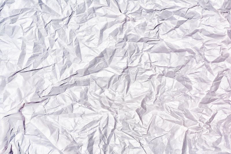 被弄皱的白皮书关闭纹理  空白的抽象背景 库存照片