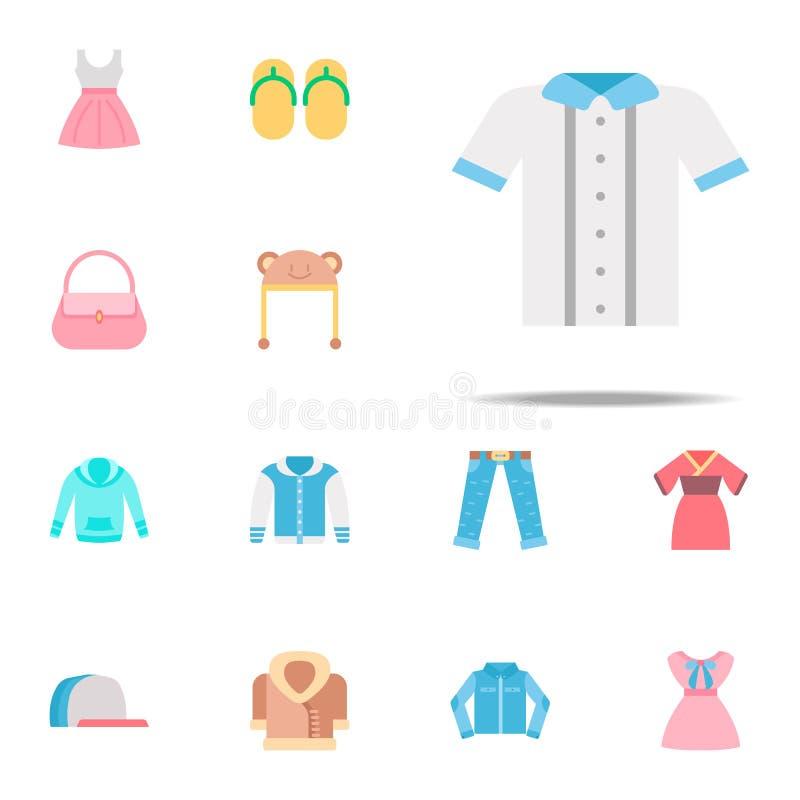 被按的衬衣颜色象 网和机动性的衣裳象全集 库存例证
