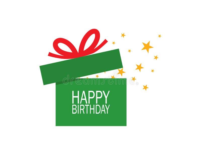 被打开的绿色礼物盒与红色丝带、星和文本生日快乐在空白的背景 向量例证