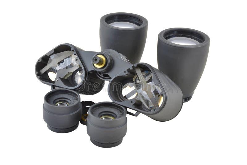 被拆卸的棱镜双筒望远镜 库存图片