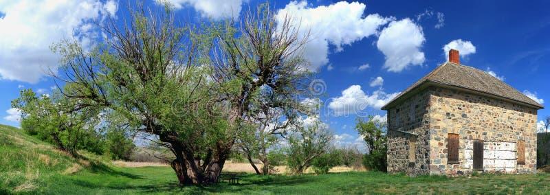 被放弃的尼科尔宅基在水牛城磅省公园,萨斯喀彻温省 图库摄影