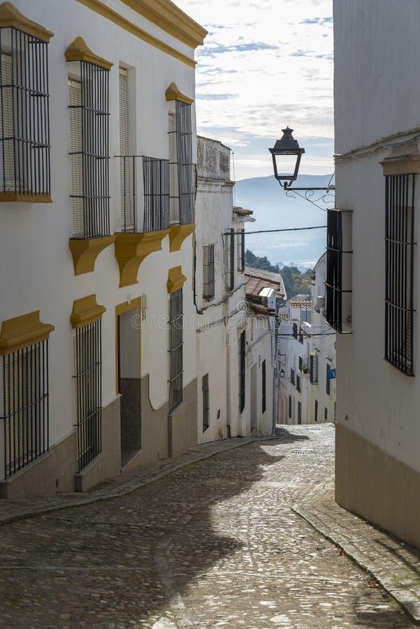 被粉刷的房子胡同特点赫雷斯de los村庄  免版税库存图片