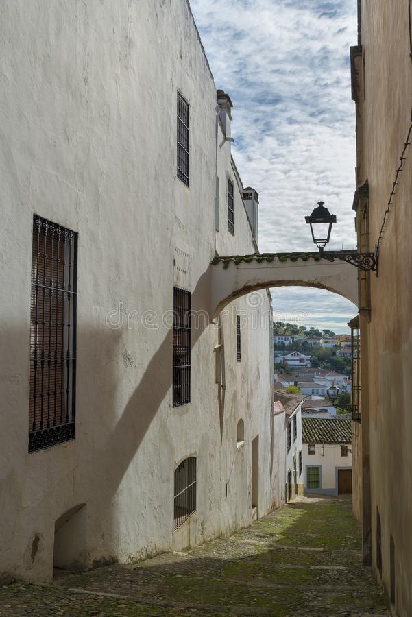 被粉刷的房子胡同特点赫雷斯de los村庄  库存照片