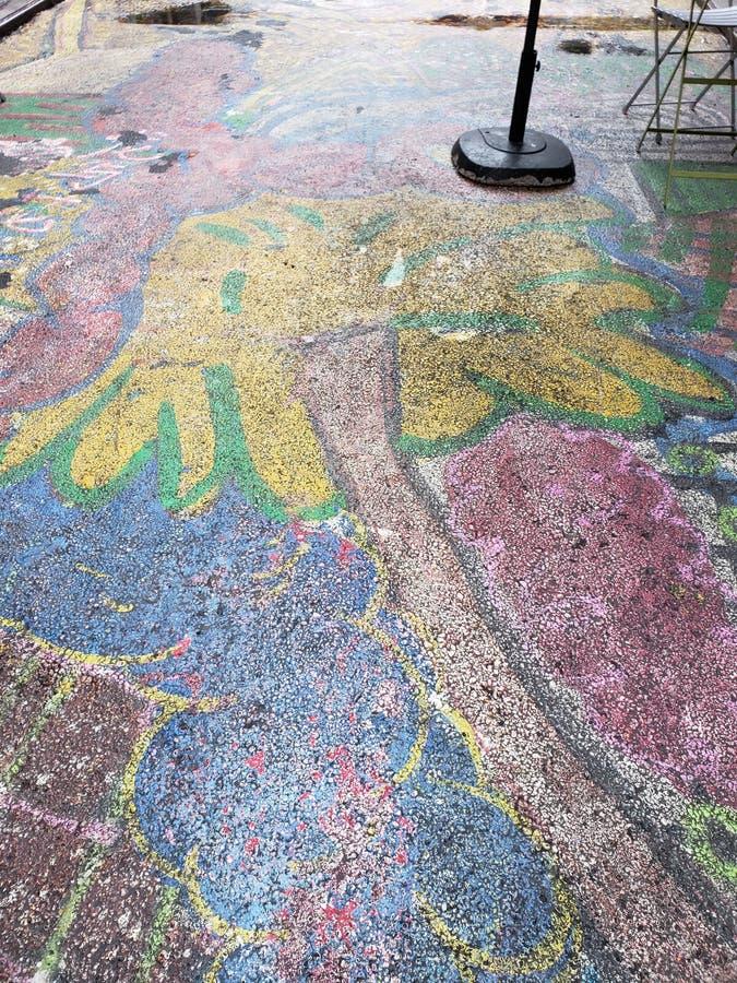 被绘的公开人行道在唐人街,NYC 库存照片