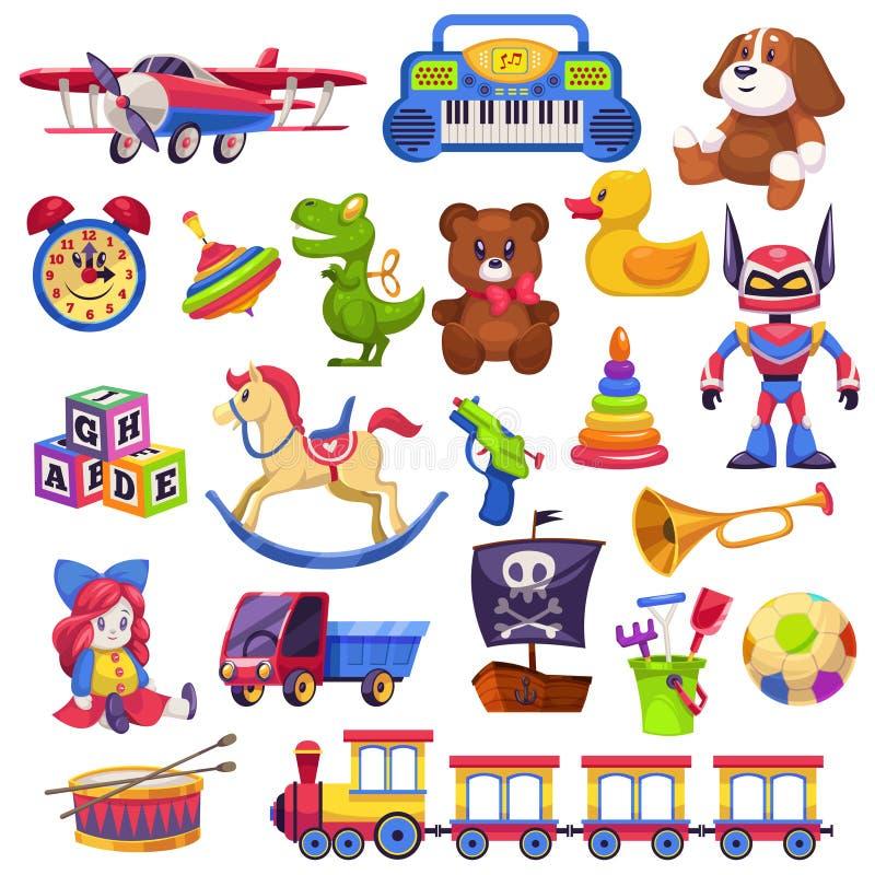 被设置的孩子玩具 玩具孩子儿童学龄前房子婴孩最后一球火车游艇马玩偶鸭子小船平面熊汽车金字塔 库存例证