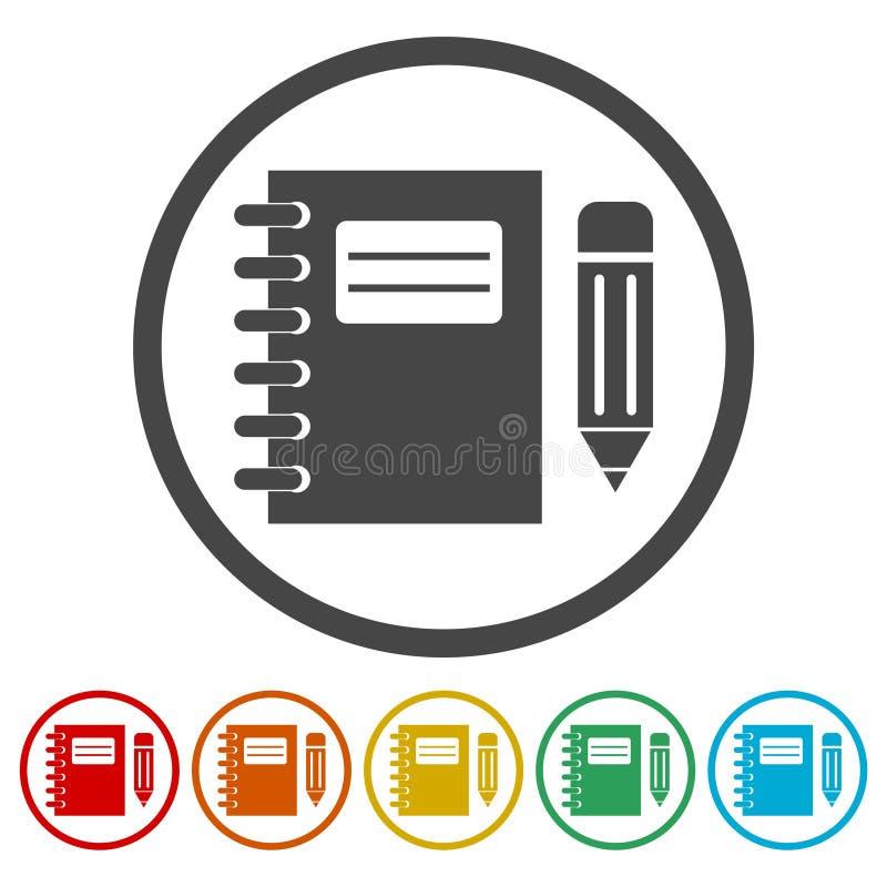 被设置的笔记本和铅笔象 向量例证
