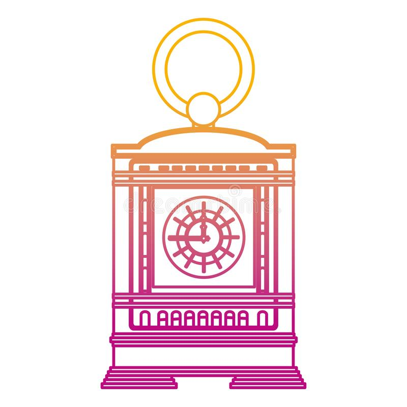 被贬低的线壁炉台时钟手工结构设计 库存例证