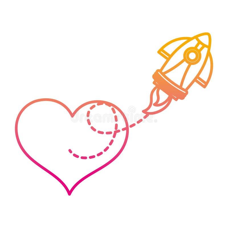 被贬低的线心脏标志和火箭技术对象 库存例证