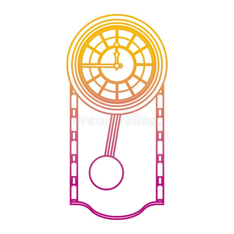 被贬低的线触毛橡木壁钟设计 皇族释放例证
