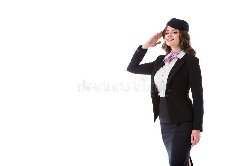 被隔绝的有吸引力空中小姐向致敬 图库摄影