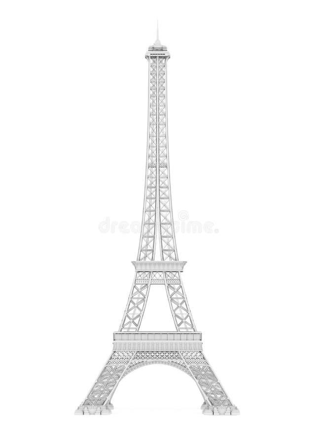 被隔绝的白色埃菲尔铁塔 向量例证