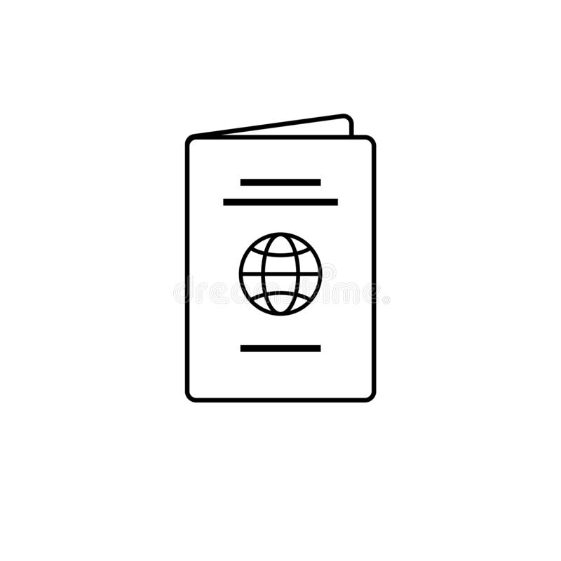 被隔绝的黑稀薄的线护照象 向量例证