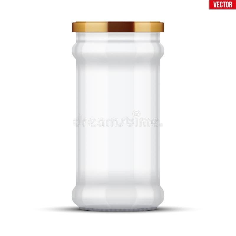 装于罐中和保存的透明玻璃瓶子 库存例证