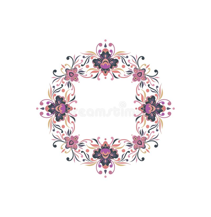装饰品花卉圆的框架自然 皇族释放例证