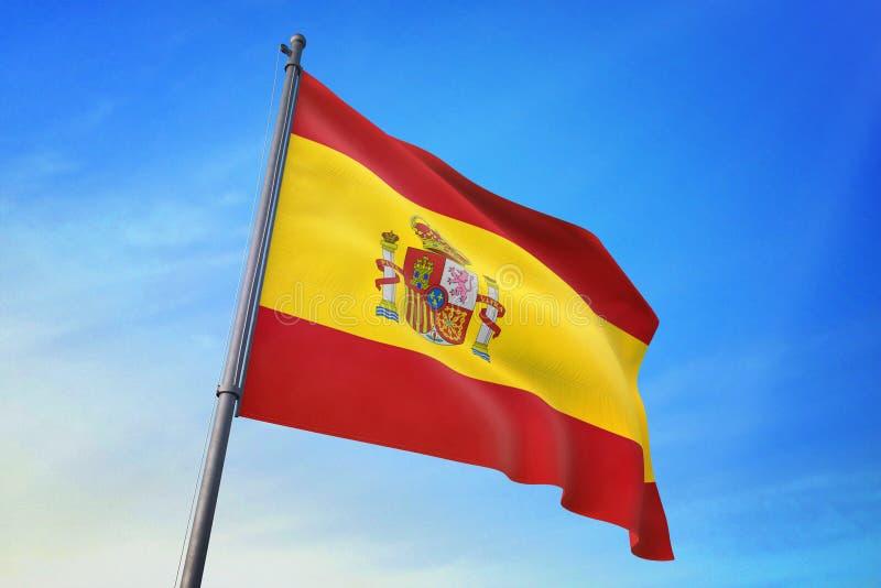 西班牙沙文主义情绪在天空蔚蓝3D例证 库存例证