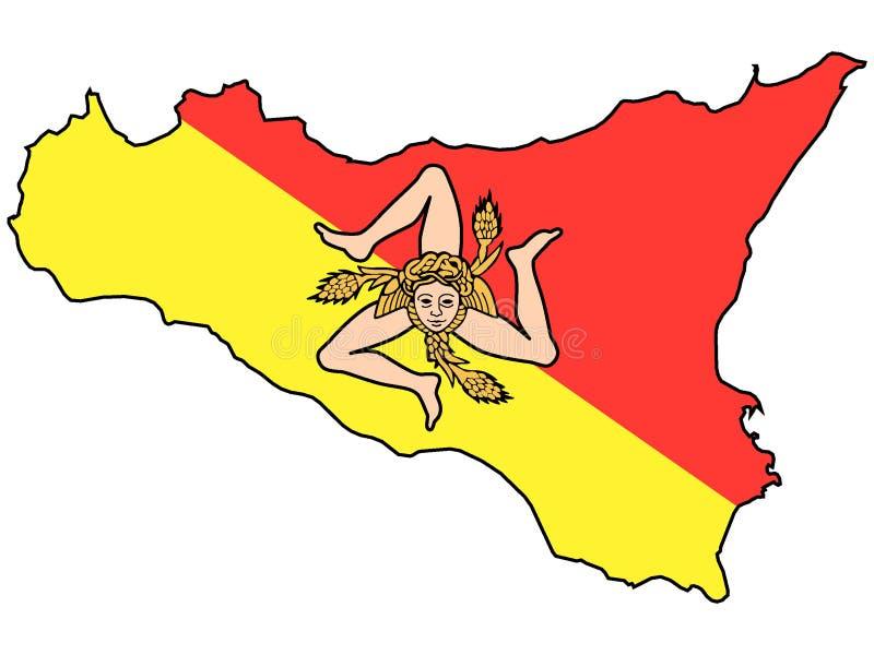 西西里岛的意大利区域的联合的地图和旗子 库存例证