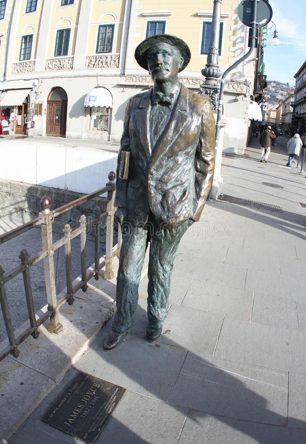 詹姆斯・乔伊斯的里雅斯特,意大利2019雕象  库存图片
