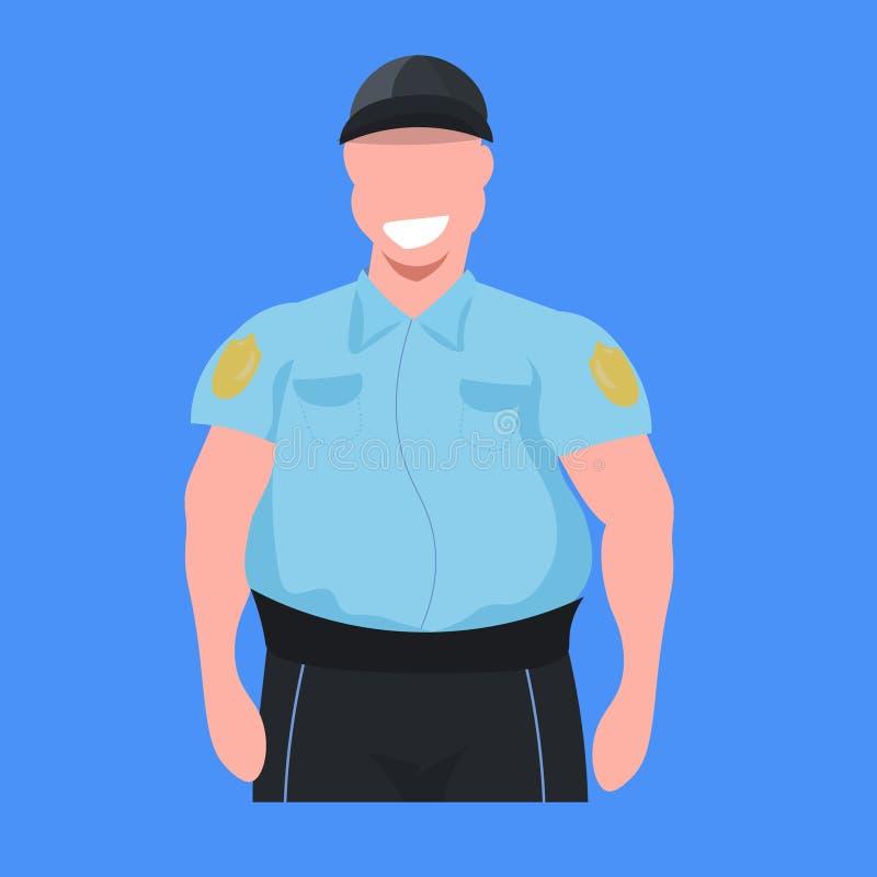 警察一致的男性平展警察保安专业职业概念卡通人物画象的人官员 皇族释放例证