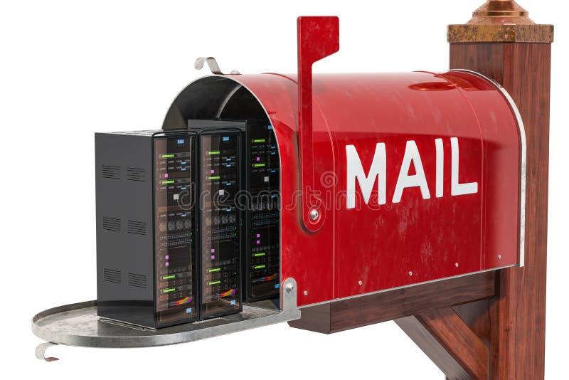 计算机服务器折磨在邮箱,交付概念里面 3d翻译 皇族释放例证