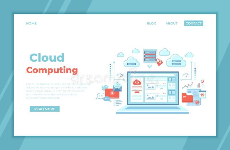 计算的云彩和网站服务,技术,数据存储,主持,连接 注册页和密码在膝上型计算机屏幕,服务器上 皇族释放例证