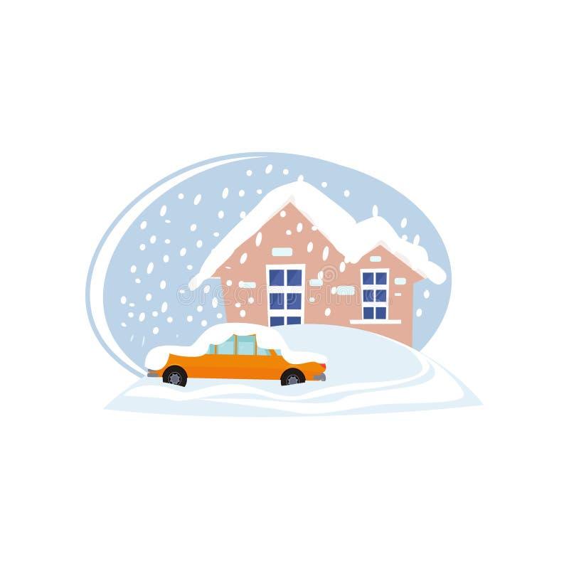 议院和汽车在白色背景隔绝的随风飘飞的雪 向量例证