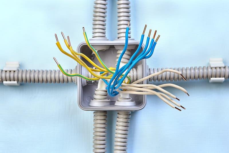 设施电子架线的接线盒图  库存照片