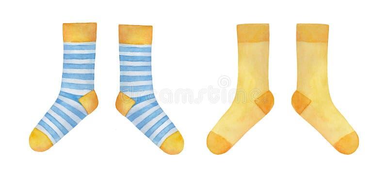 设置两个不同对逗人喜爱的纺织品袜子 库存例证