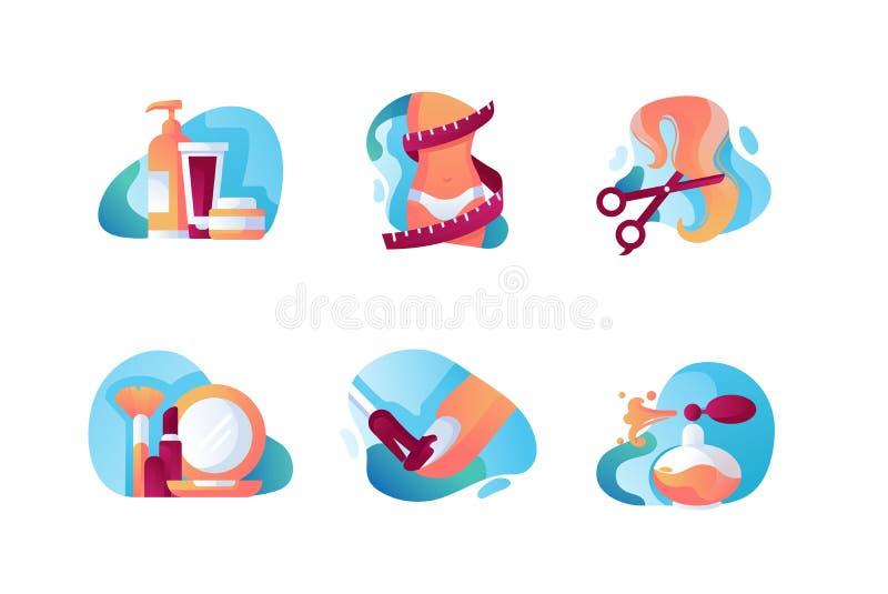 设置与秀丽时尚的象,剪刀,指甲油,奶油,香水,措施磁带 库存例证