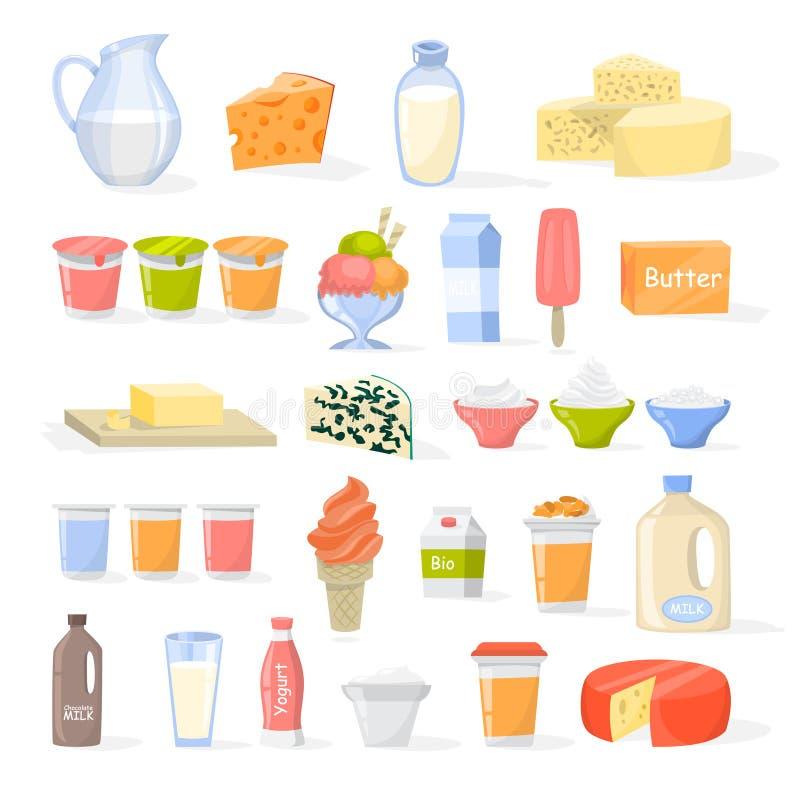设置乳制品 乳酪,酸奶,黄油 向量例证