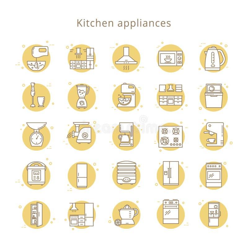 设置在白色背景在线型的厨房器具象隔绝的 库存例证