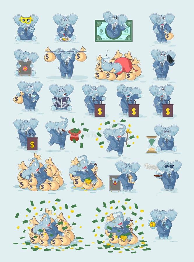 设置在西装的大象infographic的 库存例证