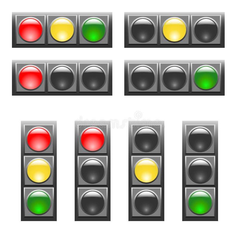 设置水平和垂直的红灯 向量例证