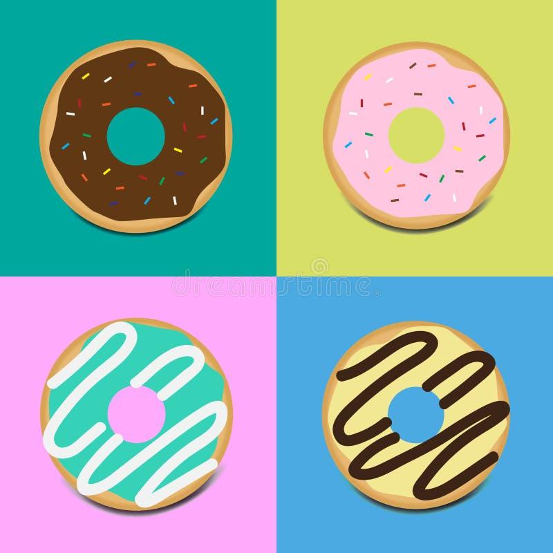 设置甜给上釉的油炸圈饼 向量例证