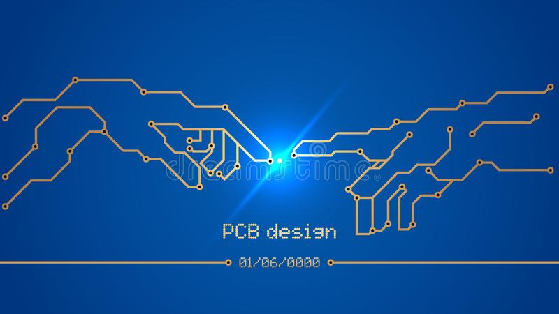 设计,电路板的发展 库存例证