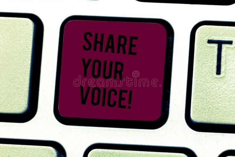 词文字文本份额您的声音 企业概念为告诉您的看法到大家和与其他谈论它 免版税库存照片