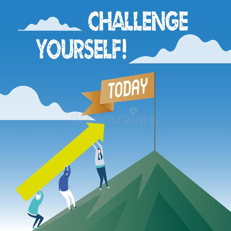 词文字文本挑战  Overcome信心强的鼓励改善胆敢的企业概念 向量例证