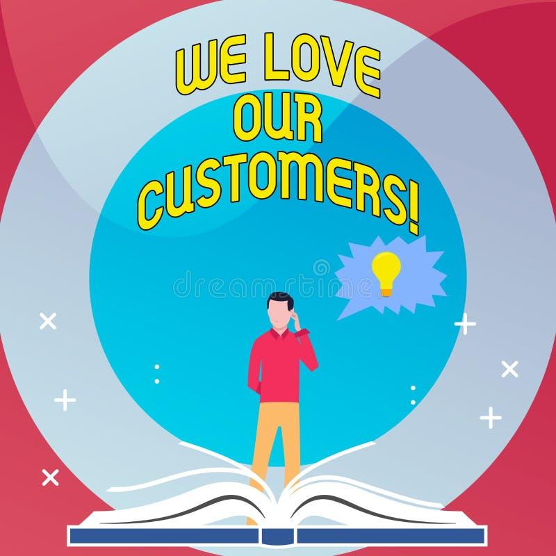 词文字文本我们爱我们的顾客 客户的企业概念值得好服务满意尊敬 库存例证