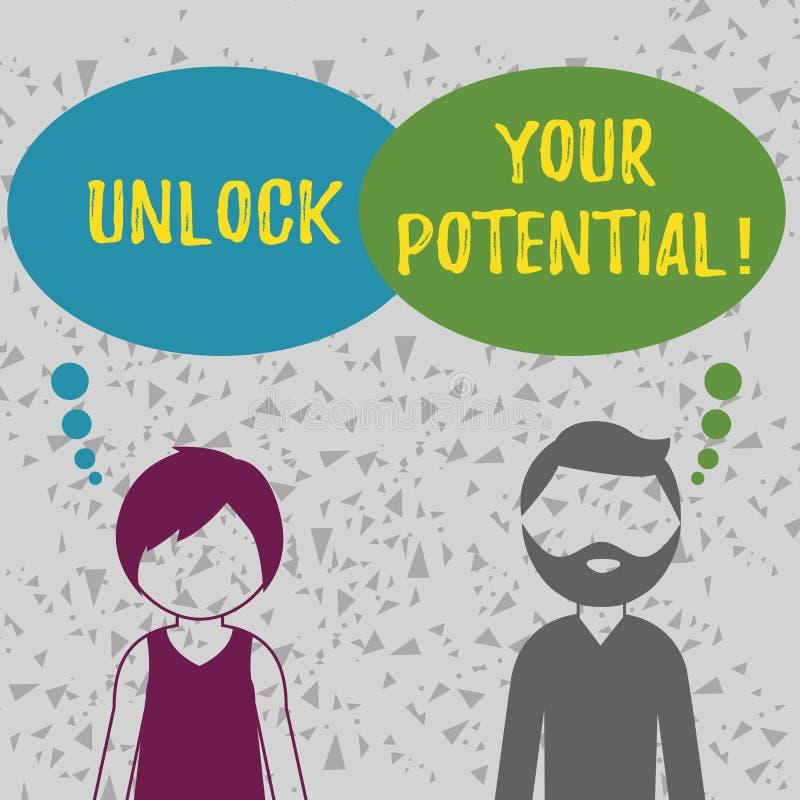 词文字文本打开您的潜力 Reveal天分母猪技能能力的企业概念 向量例证