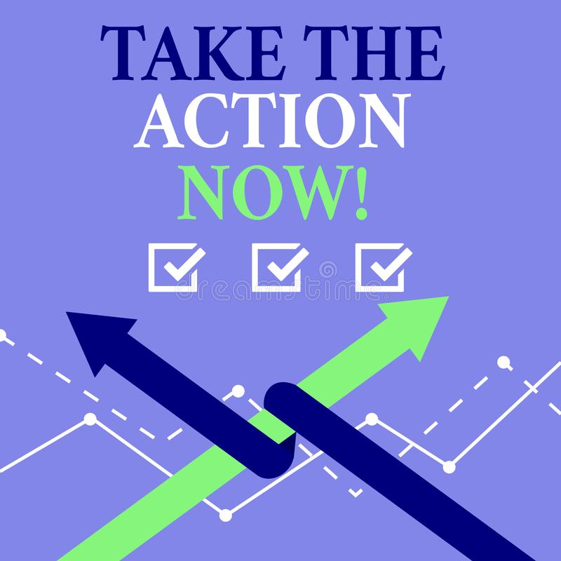 词文字文本现在采取行动 及时地直接行动的开始的企业概念立即 向量例证