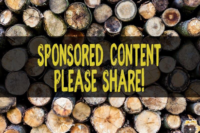 词文字文本由主办的内容请分享 营销策略木广告的平台的企业概念 免版税库存照片