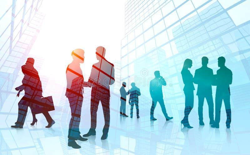 谈论企业的队工作,摩天大楼 免版税库存照片